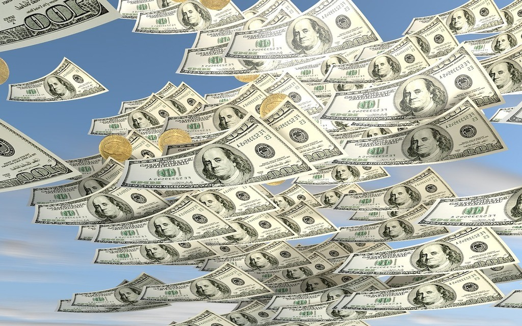 Image showing money raining down
